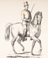 Copyright expired - Engraving of Dressage Rider from 1870